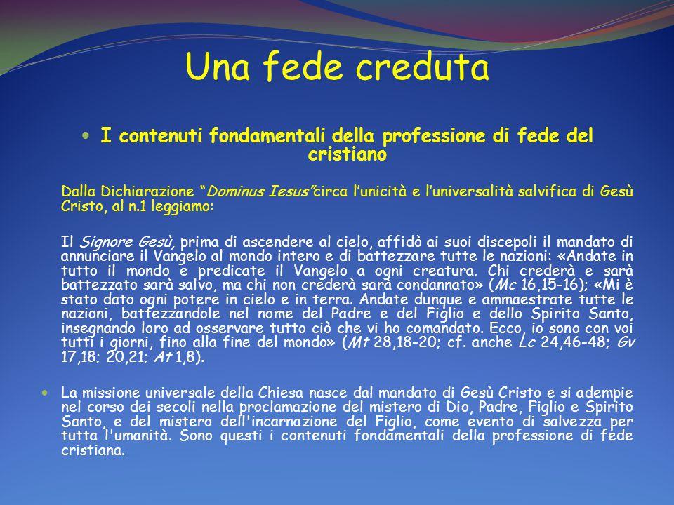I contenuti fondamentali della professione di fede del cristiano