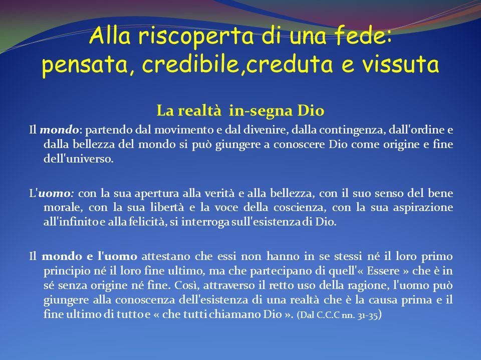 Alla riscoperta di una fede: pensata, credibile,creduta e vissuta