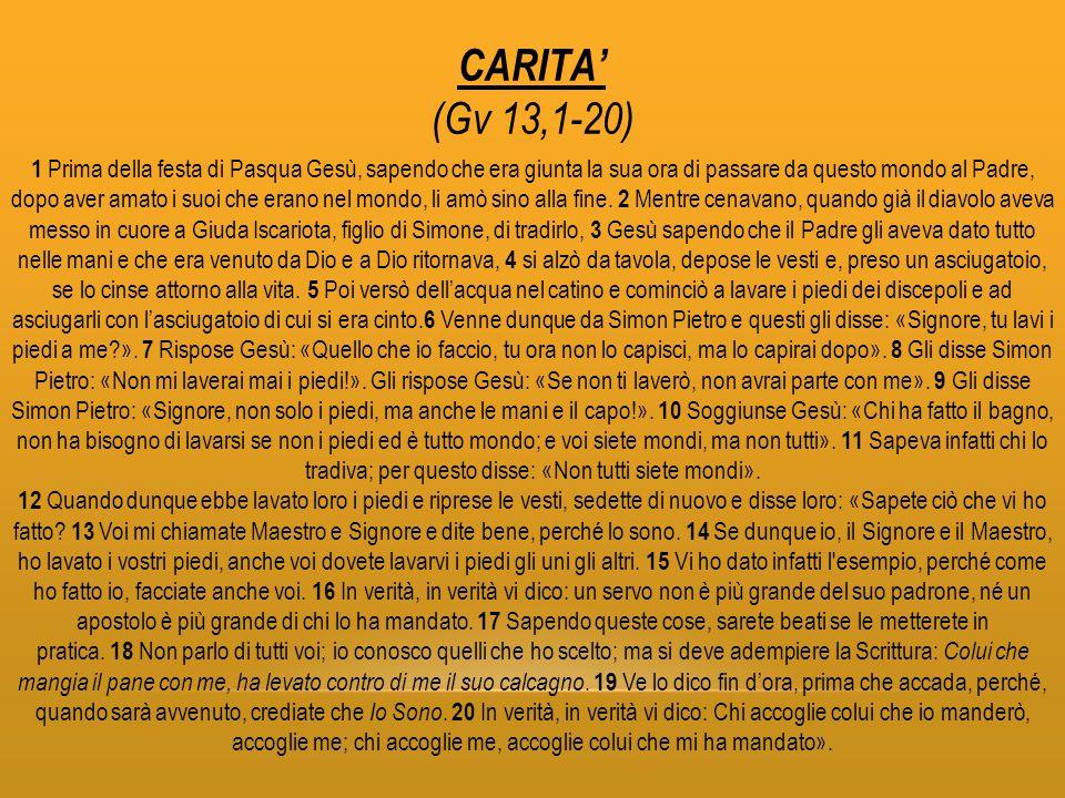 CARITA' (Gv 13,1-20)
