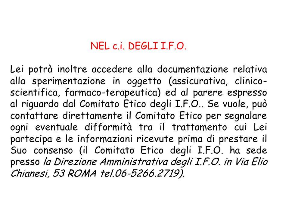 NEL c.i. DEGLI I.F.O.