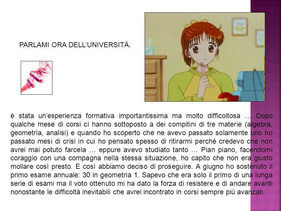 PARLAMI ORA DELL'UNIVERSITÀ.