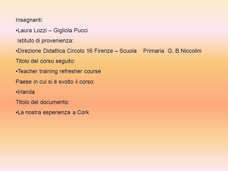 Insegnanti: Laura Lozzi – Gigliola Pucci. Istituto di provenienza: Direzione Didattica Circolo 16 Firenze – Scuola Primaria G. B.Niccolini.