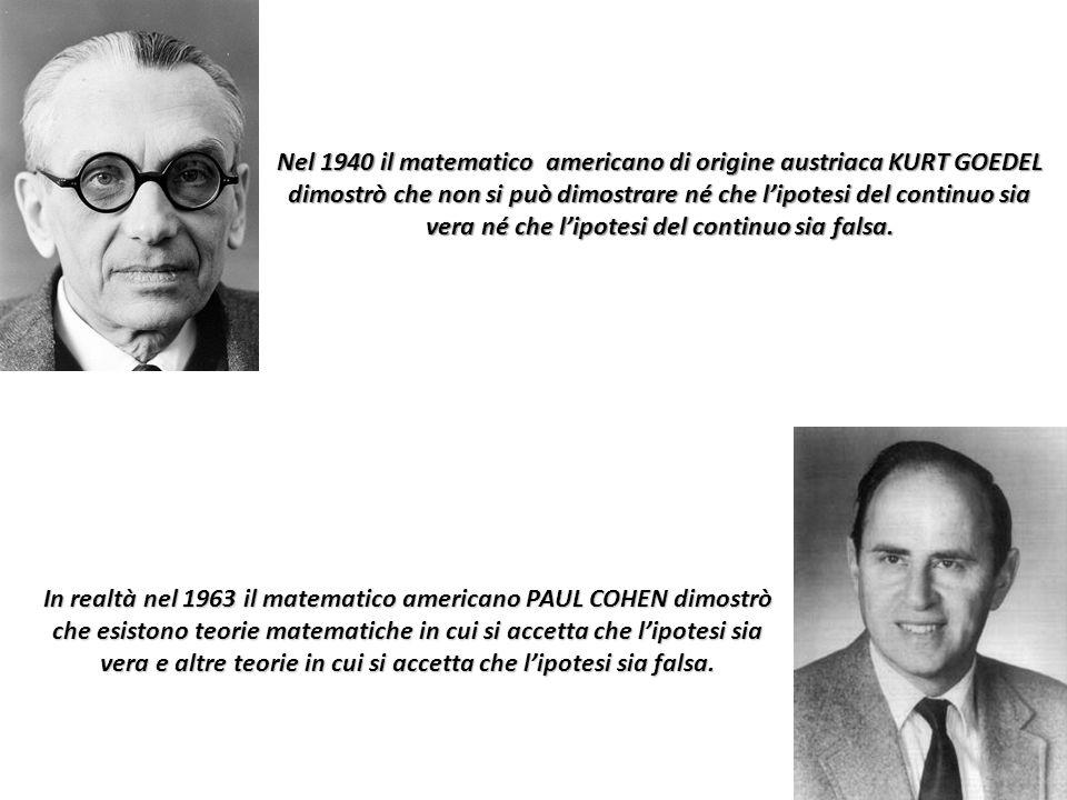 Nel 1940 il matematico americano di origine austriaca KURT GOEDEL dimostrò che non si può dimostrare né che l'ipotesi del continuo sia vera né che l'ipotesi del continuo sia falsa.