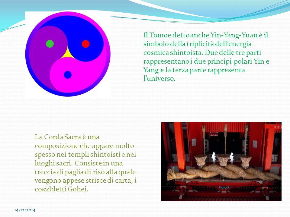 Il Tomoe detto anche Yin-Yang-Yuan è il simbolo della triplicità dell'energia cosmica shintoista. Due delle tre parti rappresentano i due principi polari Yin e Yang e la terza parte rappresenta l'universo.