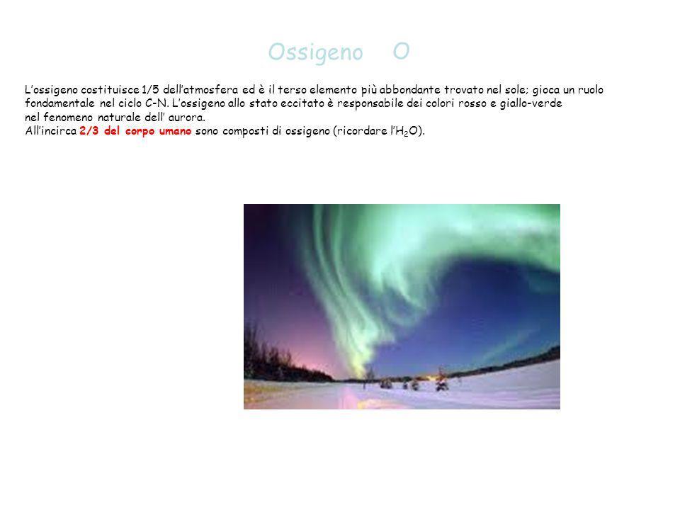 Ossigeno O. L'ossigeno costituisce 1/5 dell'atmosfera ed è il terso elemento più abbondante trovato nel sole; gioca un ruolo.