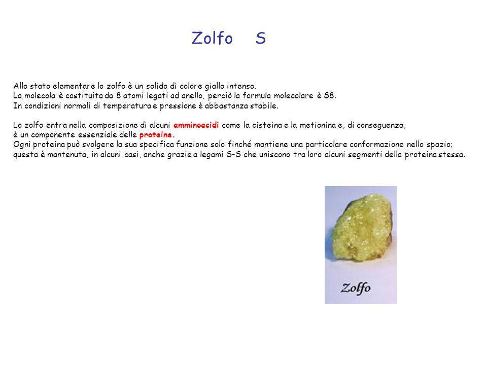 Zolfo S. Allo stato elementare lo zolfo è un solido di colore giallo intenso.