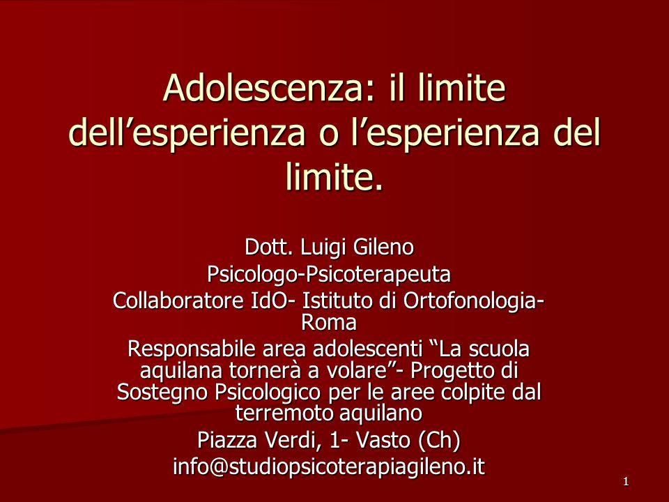 Adolescenza: il limite dell'esperienza o l'esperienza del limite.