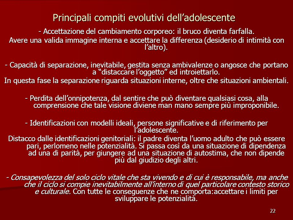 Principali compiti evolutivi dell'adolescente