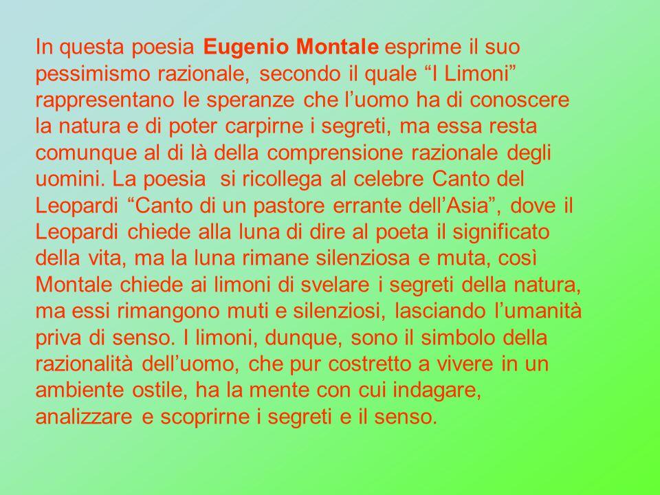 In questa poesia Eugenio Montale esprime il suo pessimismo razionale, secondo il quale I Limoni rappresentano le speranze che l'uomo ha di conoscere la natura e di poter carpirne i segreti, ma essa resta comunque al di là della comprensione razionale degli uomini.