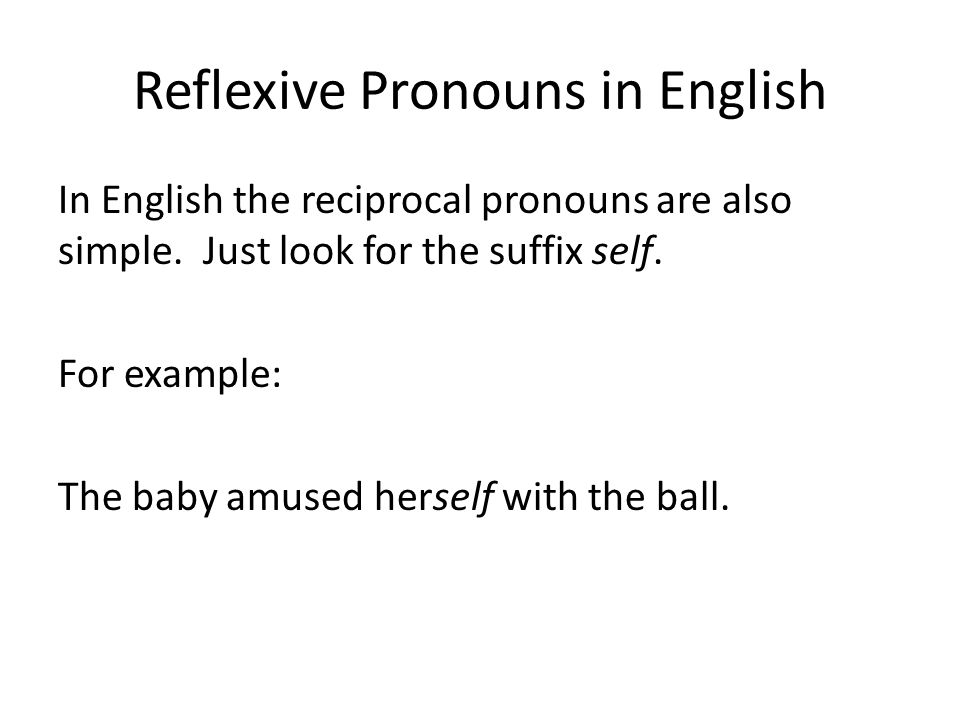 Reflexive Pronouns in English