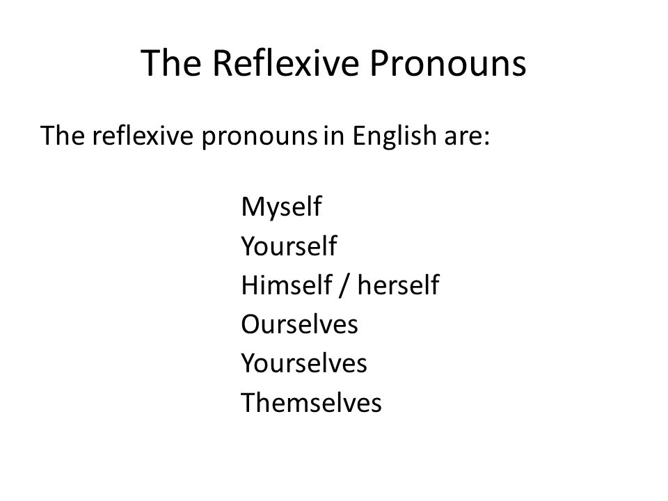 The Reflexive Pronouns