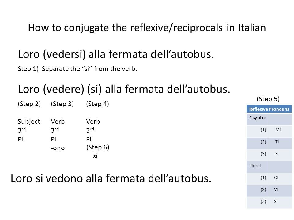 How to conjugate the reflexive/reciprocals in Italian