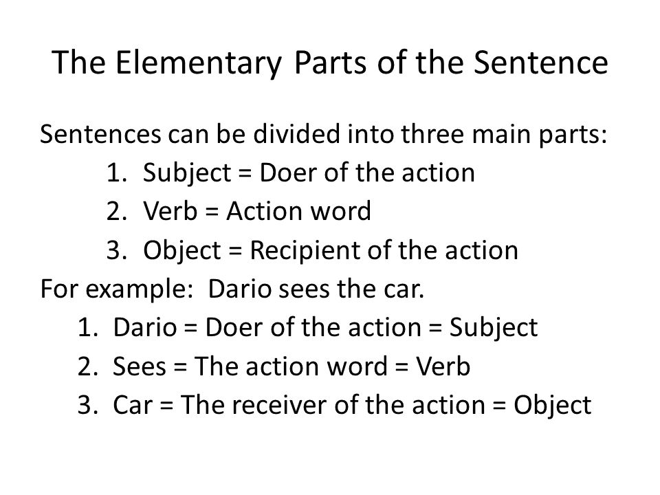 The Elementary Parts of the Sentence