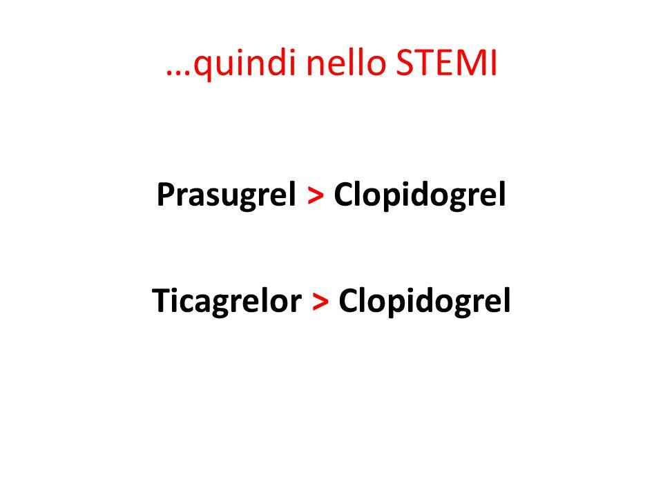 Prasugrel > Clopidogrel Ticagrelor > Clopidogrel