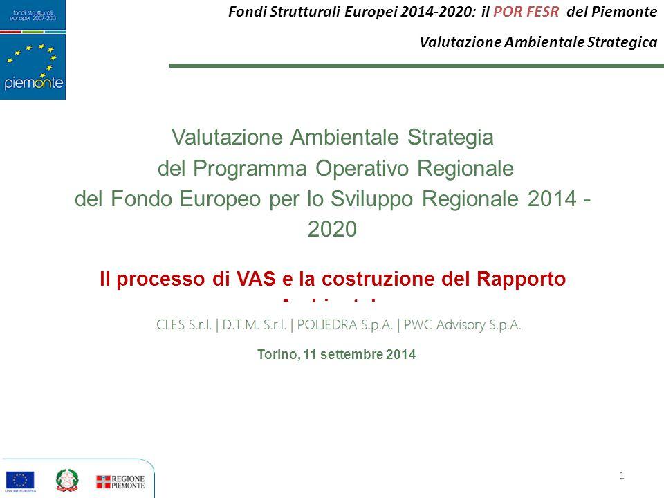 Il processo di VAS e la costruzione del Rapporto Ambientale