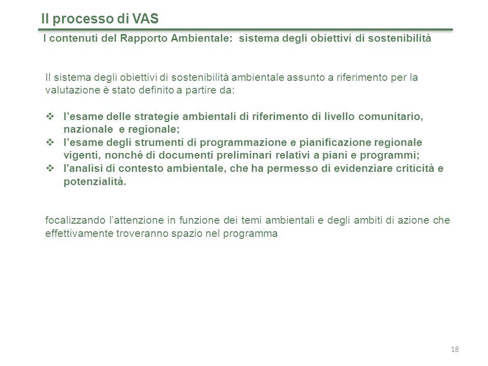 Il processo di VAS I contenuti del Rapporto Ambientale: sistema degli obiettivi di sostenibilità.