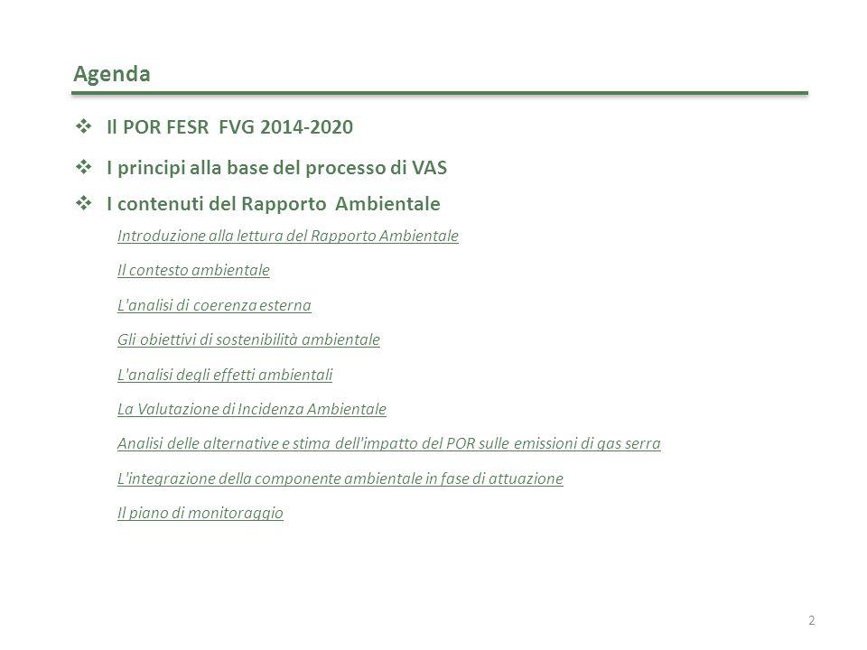 Agenda Il POR FESR FVG 2014-2020. I principi alla base del processo di VAS. I contenuti del Rapporto Ambientale.