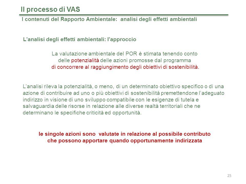 Il processo di VAS I contenuti del Rapporto Ambientale: analisi degli effetti ambientali. L analisi degli effetti ambientali: l approccio.