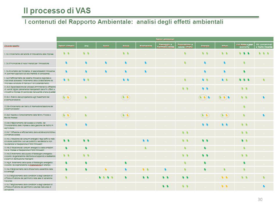 Il processo di VAS I contenuti del Rapporto Ambientale: analisi degli effetti ambientali