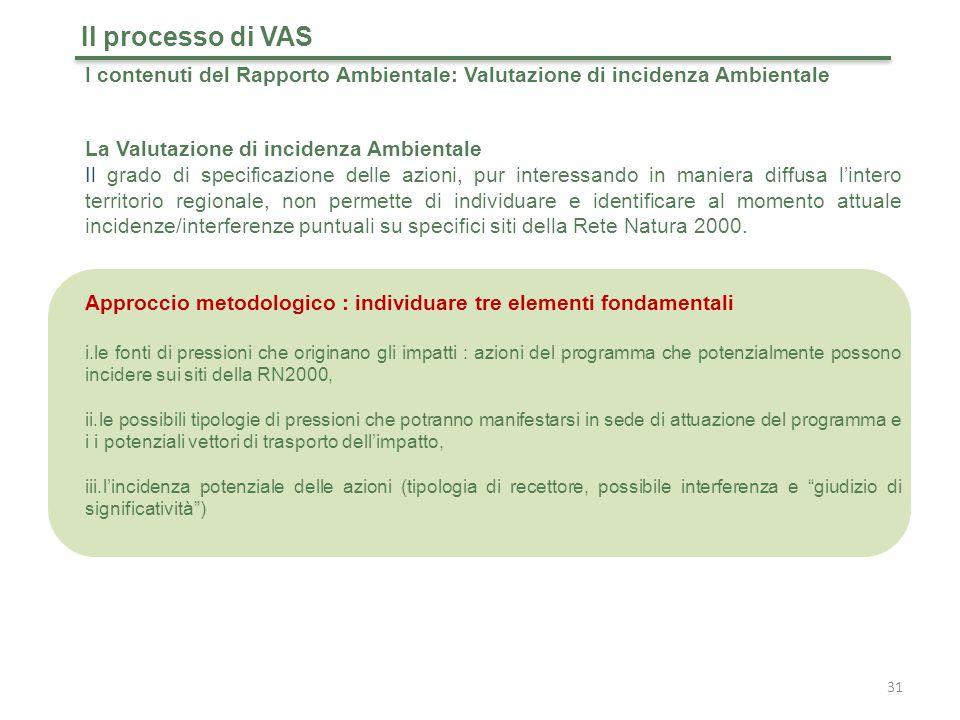 Il processo di VAS I contenuti del Rapporto Ambientale: Valutazione di incidenza Ambientale. La Valutazione di incidenza Ambientale.