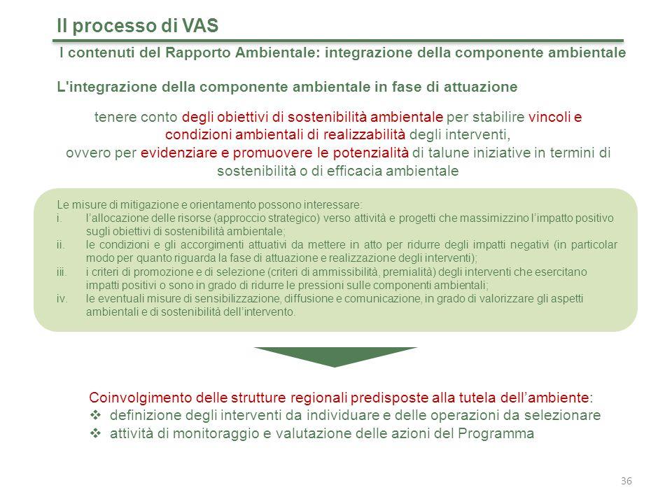Il processo di VAS I contenuti del Rapporto Ambientale: integrazione della componente ambientale.