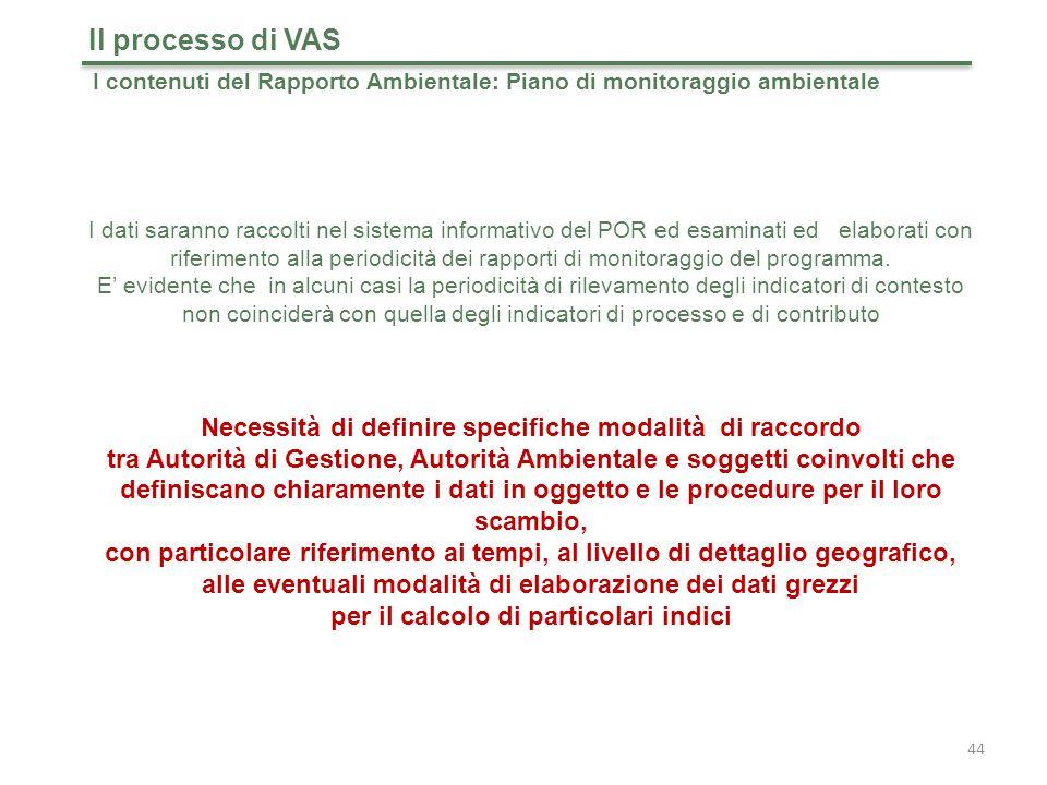 Il processo di VAS I contenuti del Rapporto Ambientale: Piano di monitoraggio ambientale.