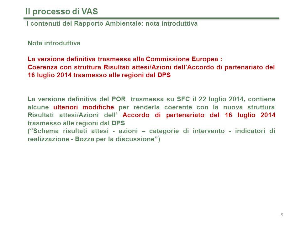 Il processo di VAS I contenuti del Rapporto Ambientale: nota introduttiva. Nota introduttiva.