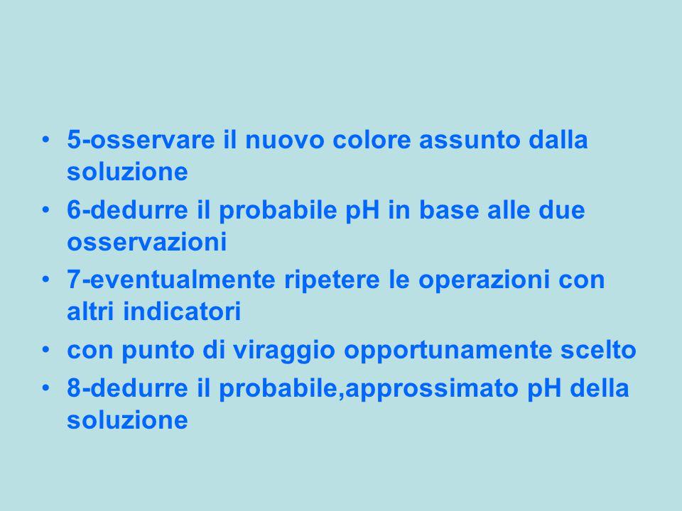 5-osservare il nuovo colore assunto dalla soluzione