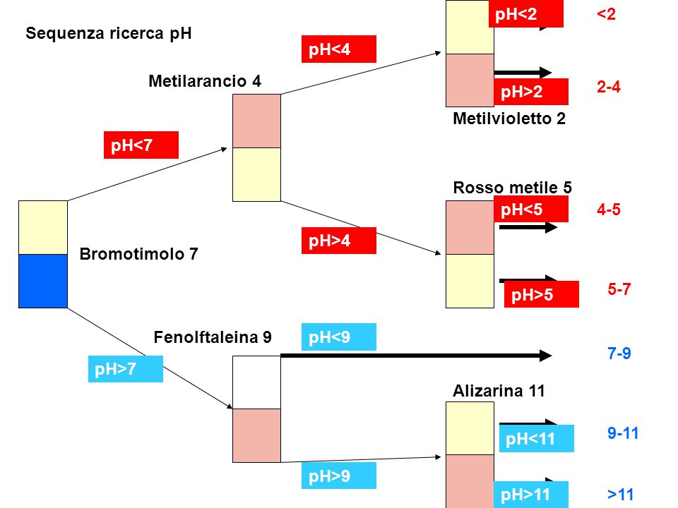 pH<2 <2. Sequenza ricerca pH. pH<4. Metilarancio 4. 2-4. pH>2. Metilvioletto 2. pH<7. Rosso metile 5.