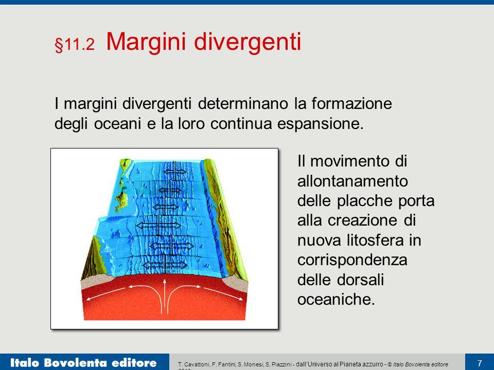 §11.2 Margini divergenti I margini divergenti determinano la formazione degli oceani e la loro continua espansione.