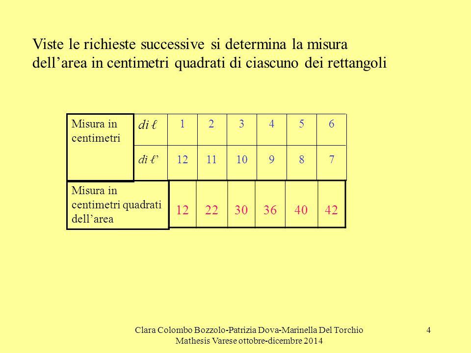Viste le richieste successive si determina la misura dell'area in centimetri quadrati di ciascuno dei rettangoli
