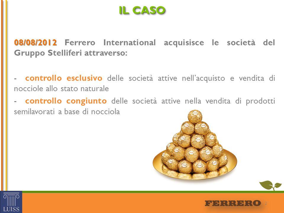 IL CASO 08/08/2012 Ferrero International acquisisce le società del Gruppo Stelliferi attraverso: