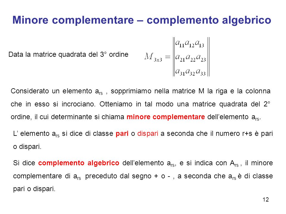 Minore complementare – complemento algebrico
