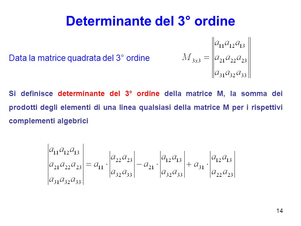 Determinante del 3° ordine