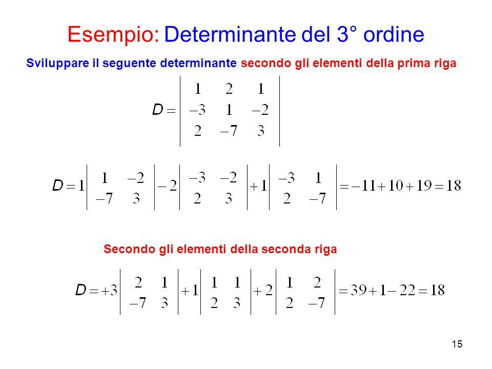 Esempio: Determinante del 3° ordine