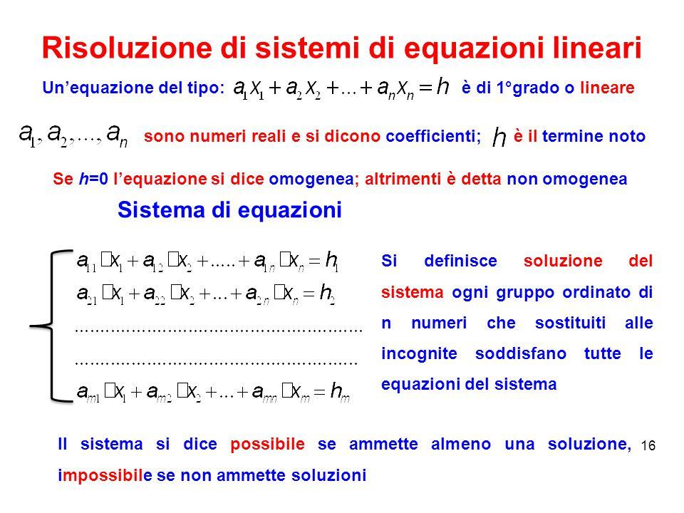 Risoluzione di sistemi di equazioni lineari