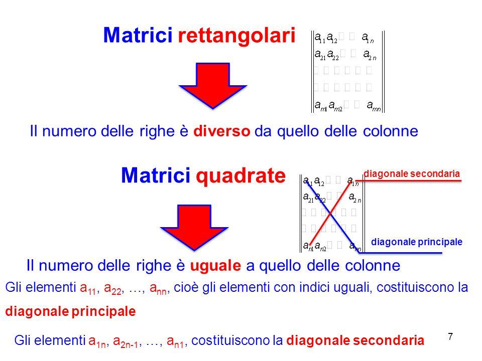 Matrici rettangolari Matrici quadrate
