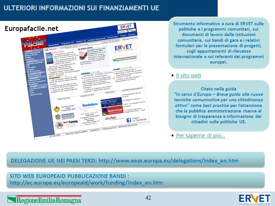 ULTERIORI INFORMAZIONI SUI FINANZIAMENTI UE