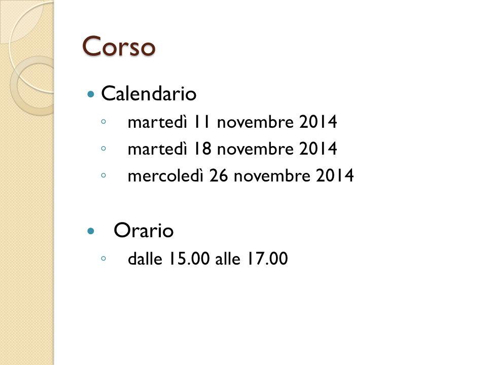 Corso Calendario Orario martedì 11 novembre 2014