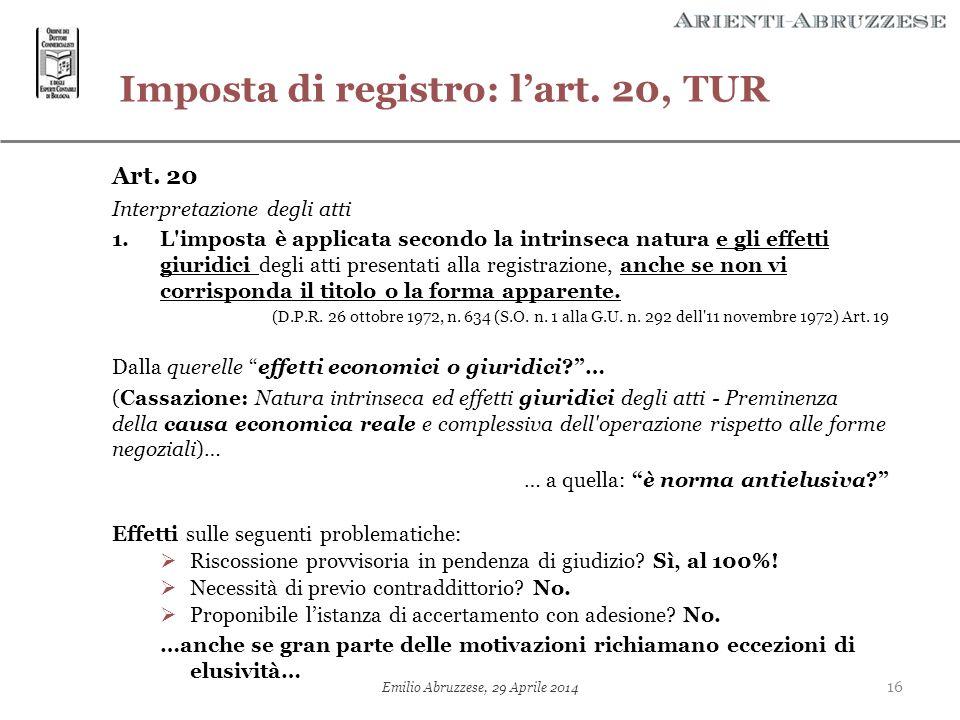 Imposta di registro: l'art. 20, TUR