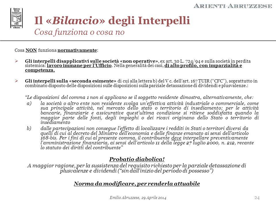 Il «Bilancio» degli Interpelli Cosa funziona o cosa no
