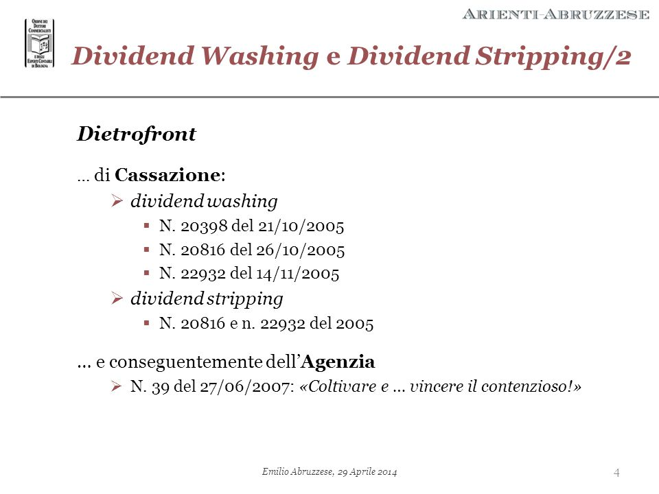 Dividend Washing e Dividend Stripping/2