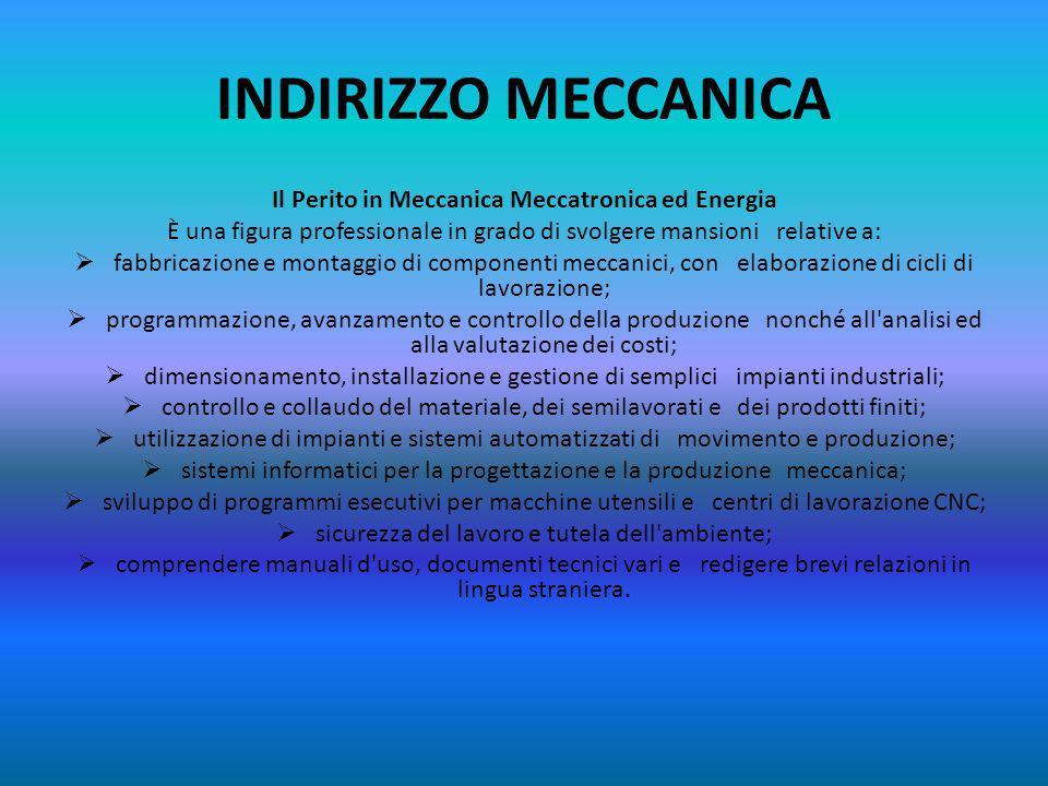 INDIRIZZO MECCANICA Il Perito in Meccanica Meccatronica ed Energia