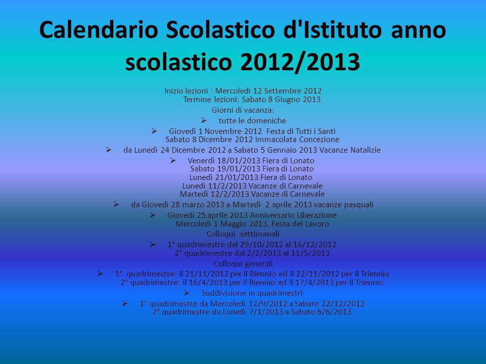 Calendario Scolastico d Istituto anno scolastico 2012/2013