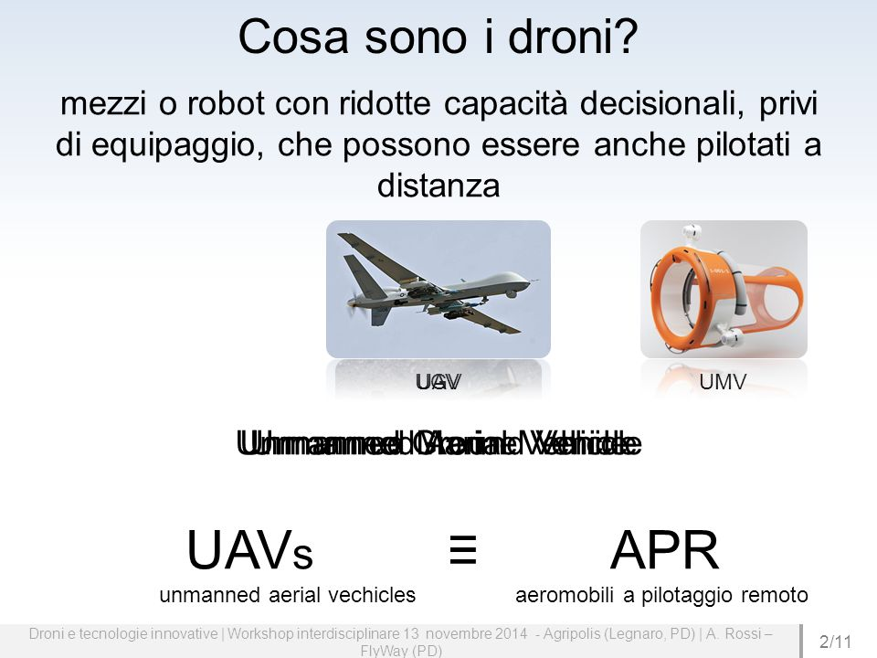 UAVs ≡ APR unmanned aerial vechicles aeromobili a pilotaggio remoto