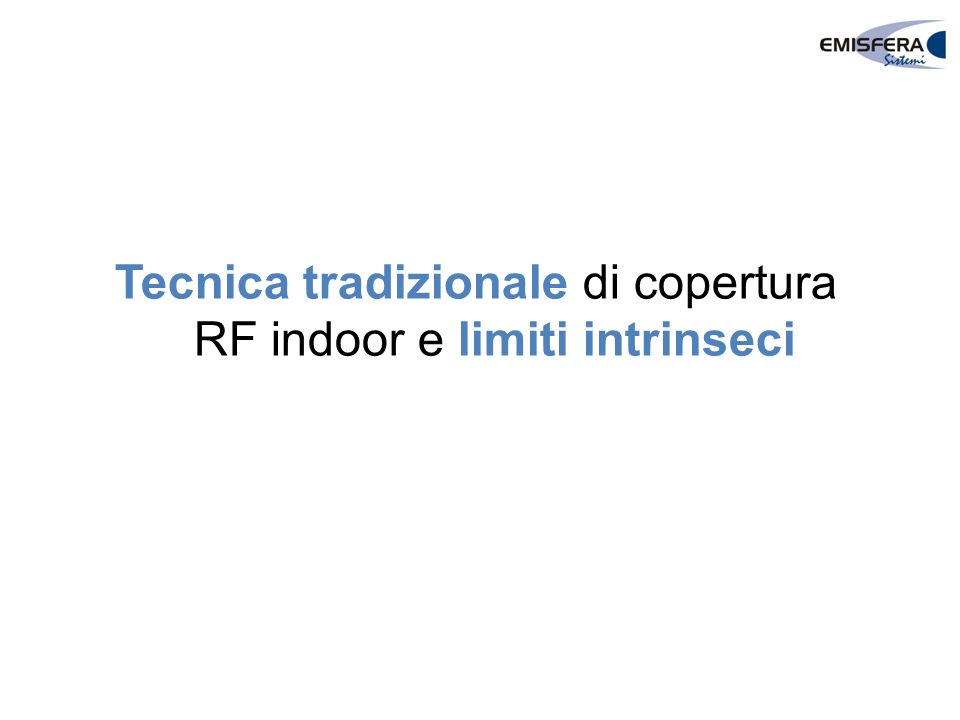 Tecnica tradizionale di copertura RF indoor e limiti intrinseci