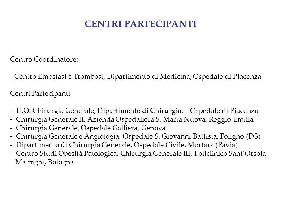 CENTRI PARTECIPANTI Centro Coordinatore: