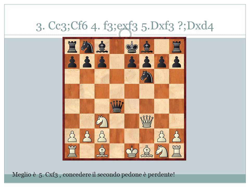 3. Cc3;Cf6 4. f3;exf3 5.Dxf3 ;Dxd4 Meglio è 5. Cxf3 , concedere il secondo pedone è perdente!