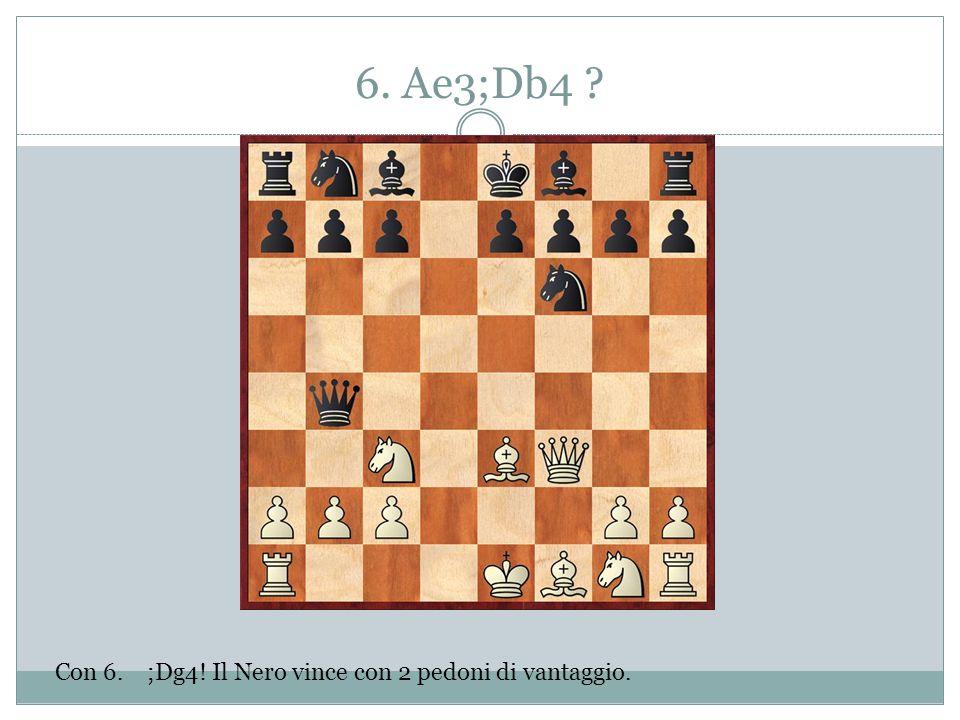 6. Ae3;Db4 Con 6. ;Dg4! Il Nero vince con 2 pedoni di vantaggio.