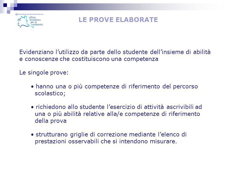 LE PROVE ELABORATE Evidenziano l'utilizzo da parte dello studente dell'insieme di abilità e conoscenze che costituiscono una competenza.